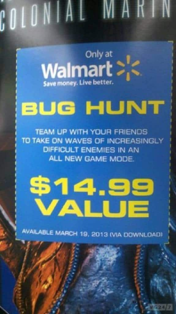 Aliens Colonial Marines Walmart Bug Hunt