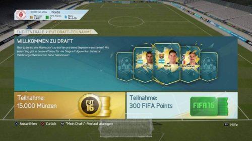 FIFA 16 FUT Online Draft (Im Menü)