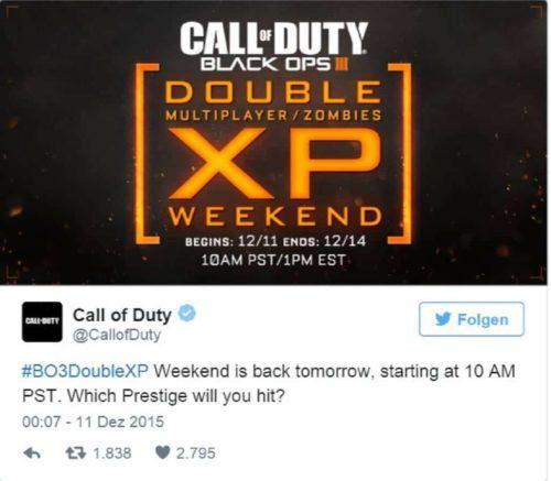 Black Ops 3 Offiziell Doppel XP
