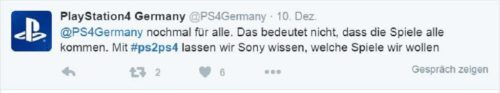 Sony Computer Entertainment Deutschland Tweet