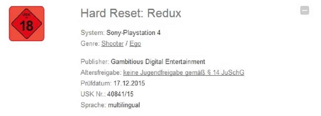 Hard Reset Redux USK