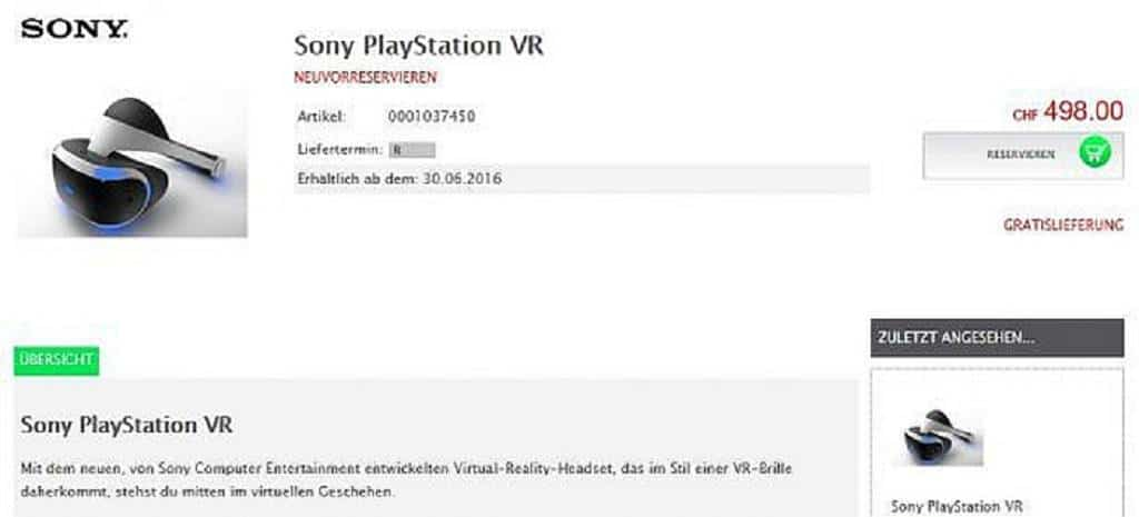 PlayStation VR Preis PS4