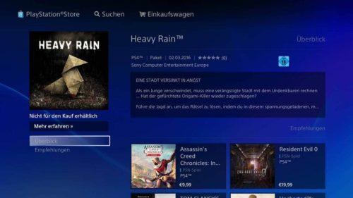 Heavy Rain PS4 Store