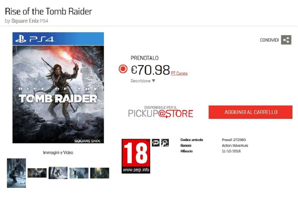 RISE OF THE TOMB RAIDER Release-Datum PS4