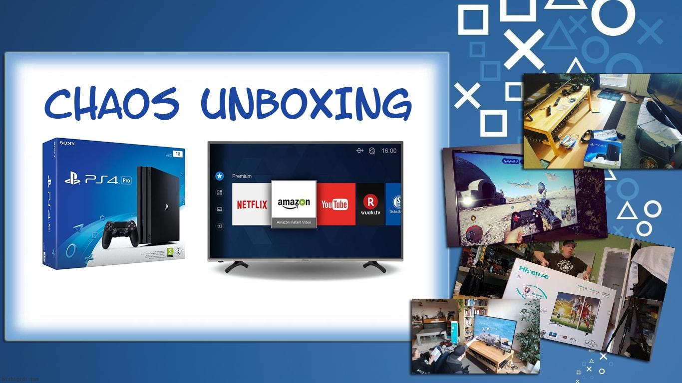 Chaos Unboxing Hisense H55MEC3050 und PlayStation 4 Pro :)