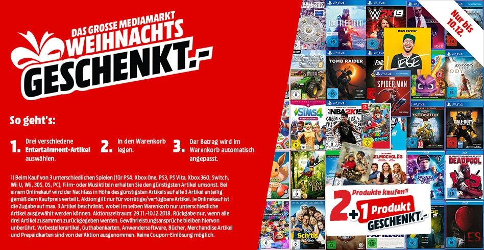 Media Markt - Aktuell mit 3-Für-2 Aktion auf Entertainment-Artikel