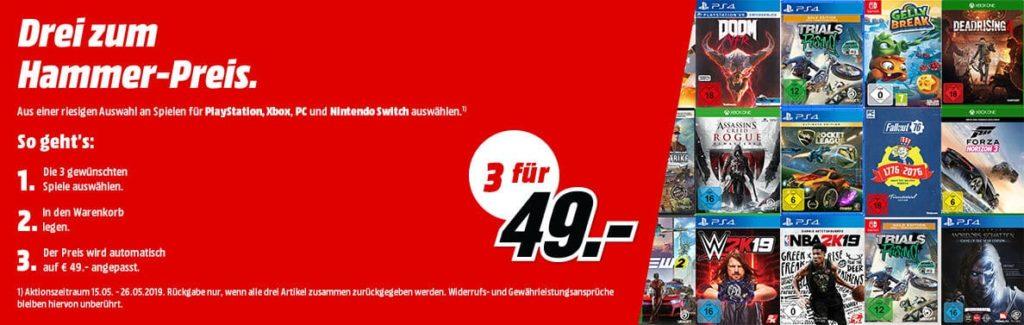 Media Markt bietet uns derzeit eine neue Aktion an, bei der man für drei Spiele nur insgesamt 49 Euro bezahlen muss. Weitere Details gibt es hier.