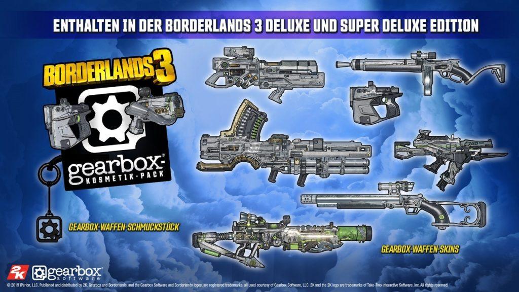 Als Käufer der Deluxe oder Super Deluxe Edition von Borderlands 3 kann man sich über besondere Boni freuen. Wir stellen sie euch vor.