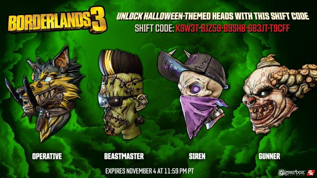 Passend zu Halloween spendiert uns Gearbox Software vier kostenlose Köpfe für die Charaktere in Borderlands 3. Wir verraten euch mehr!