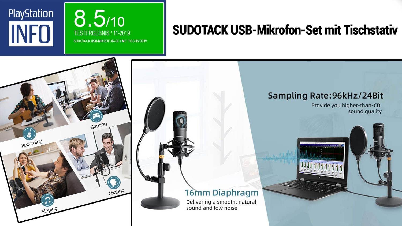 SUDOTACK USB-Mikrofon-Set mit Tischstativ - Das Komplettset angetestet